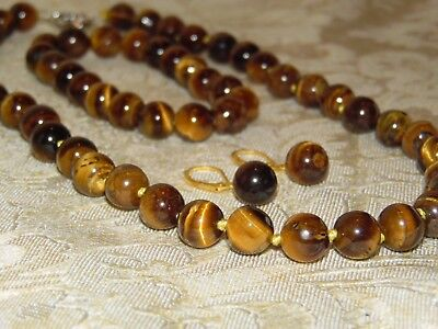 Beautiful Genuine Tigers Eye Necklace, Bracelet Earring Set Hand Knotted
