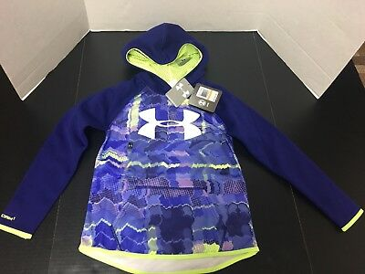 Under Armour Storm Girl's Youth Small Hooded Pullover Purple Neon Green New
