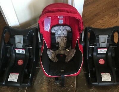 Britax B-Safe - Red Infant Car Seat along with TWO bases, one for Mom AND Dad!