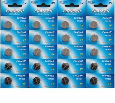 20 x EUNICELL CR1620 3V Lithium Batteries  BR1620  DL1620 Button Cell Battery
