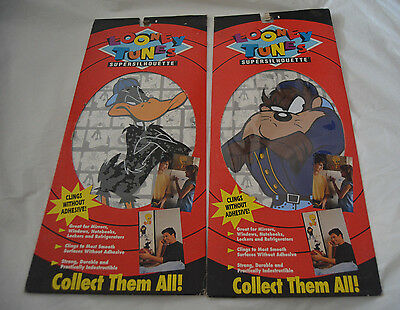1993 Looney Tunes Supersilhouette Wall Decal / Cling Lot - Daffy Duck & Taz