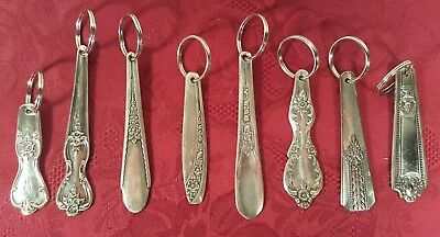 Vtg Lot of 8 Silverplate Key Chain Ring Antique Flatware Spoon Fork Hand Crafted
