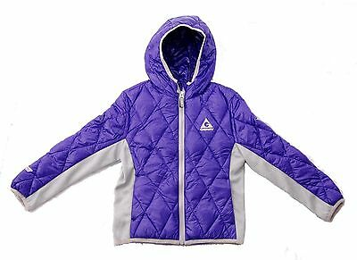 New GERRY Girls' Down Hooded Lightweight Quilted Jacket Coat, PURPLE, M (10-12)
