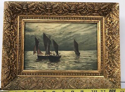 Antique oil painting seascape painted On Academy Board. Circa 19th Century
