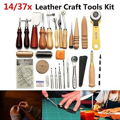 14/37Pcs Leather Craft Punch Tools Stitching Carving Work Sewing Saddle DIY Kits