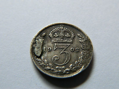 1902 Great Britain Sterling 3 Pence Extra Metal Error--Rare 1.5 Gr.