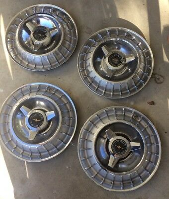 1963 Ford Thunderbird OEM hubcaps with spinners FULL SET (4) NO RESERVE
