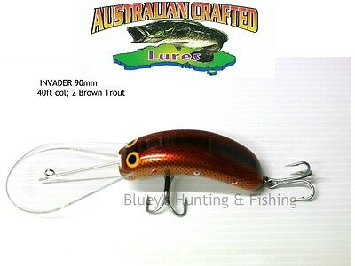 Australian Crafted Lures- cod 90mm invader Brown Trout col;3  40ft a.c.lures