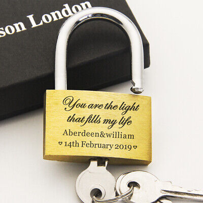 Personalised Engraved Padlock Anniversary Wedding Favour 40mm Love Lock with Box