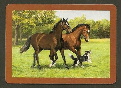 Single Swap Playing Card Horses In  A Field With Dog Horse  Art