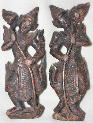 Burma Early 19th Century Matching Pair Hand Carved Wood Lotus Dancing Figures