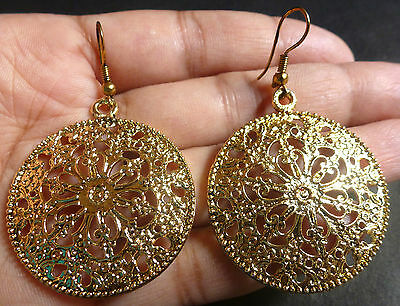 5065841162bcd5 Indian Vintage Antique Gold Plated Round Filigree Hook 3.5 cm dim Party  earrings
