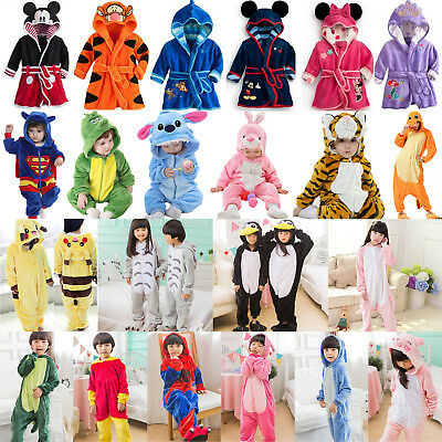 Kid Boy Girl Pajamas Kigurumi Animal Cosplay Fancy Costume Sleepwear Bath Robe