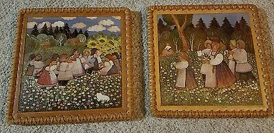"""Vintage 1930s Carved Wood Picture Set of Two Rare 14""""x14"""