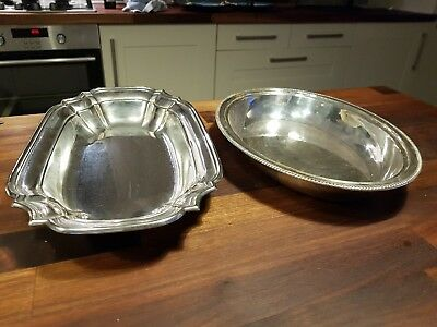 Two Vintage Silver Plate Oval Serving Trays One Squirrel Brand Other Unmarked