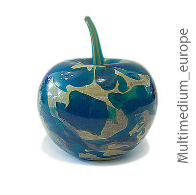 Mdina Paperweight Glas Objekt Apfel blau Michael Harris tiger pattern blue apple