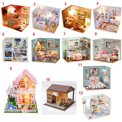DIY Wooden Handcraft Dolls House Miniature Funiture Project Kit - 12 Types