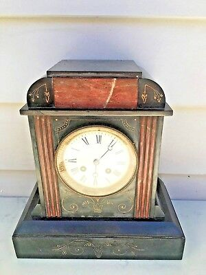 c.1890 French Black Slate & Marble Mantle clock 8D Strike the hour on a Bell