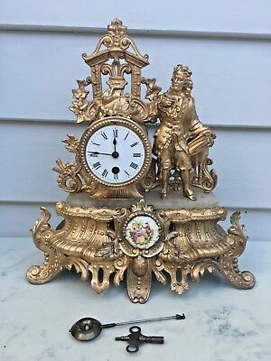 c.1880 French Gild Spelter Mantle Clock 8 Days Time Piece Only