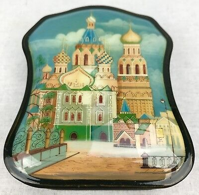 Russian Lacquer Box / Trinket Box / Lacquered Collectable / Unusual Shape