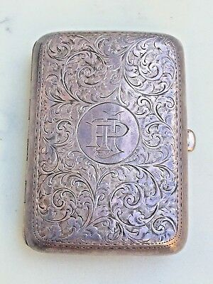 1910 Birmingham English S/Silver Engraved Curved Cigarette Case
