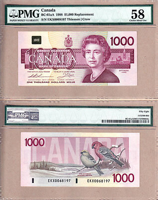 1988 $1000 Bank of Canada Bird Series Replacement Note; BC-61aA. PMG CH AU58