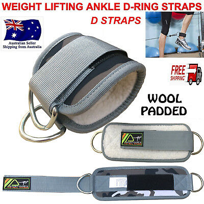 AUSTODEX Weight Lifting Ankle D-Ring WOOL Pulley Cable Attachment Gym Leg Strap