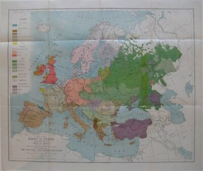 "Original 1918 Color Coded Map ""RACES"" OF EUROPE Ethnic Groups National Peoples"
