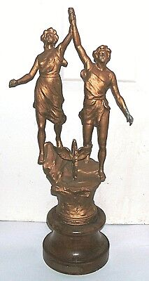 """Antique Spelter Figure Titled """"le Commerce"""" In Fair Condition 15 1/2 Inches Tall"""