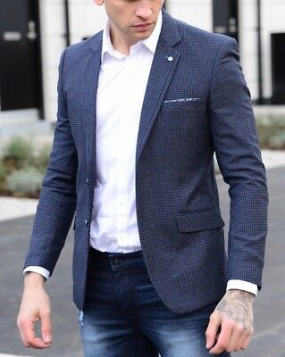CAVANI Mens Tweed Herringbone Designer Vintage Tailored Slim Blazer Jacket Suit