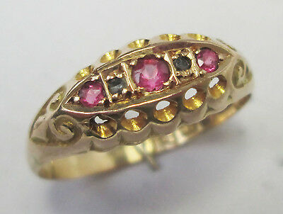 Edwardian 18ct Gold Ruby 5 Stone & Diamond Ornate Ring Chester 1916