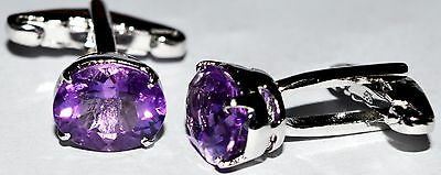 925 Sterling Silver Cufflinks Stone Amethyst Wedding Engagement for Men