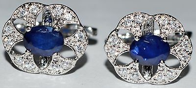 925 Sterling Silver Cufflinks Stone Blue Sapphire And CZ Wedding Engagement Men