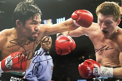 Original Hand Signed Boxing Picture By Ricky Hatton & Manny Pacquiao