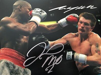 Original Hand Signed Boxing Picture By Ricky Hatton & Floyd Mayweather