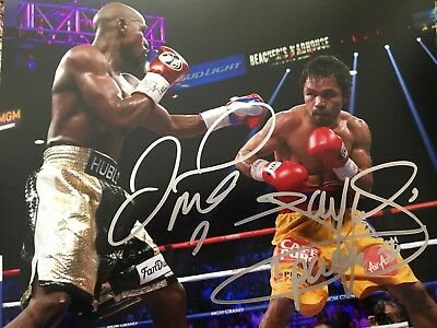 Original Hand Signed Boxing Picture By Manny Pacquiao & Floyd Mayweather