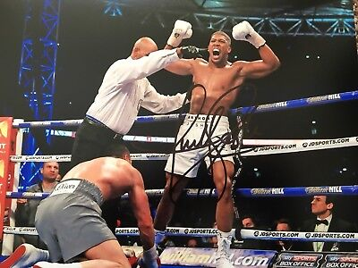 Original Hand Signed Boxing Picture By Anthony Joshua, Champ
