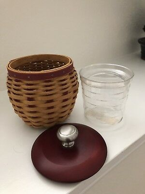 LONGABERGER 2005 Small Strawberry Jar Basket W/protector and Red Lid