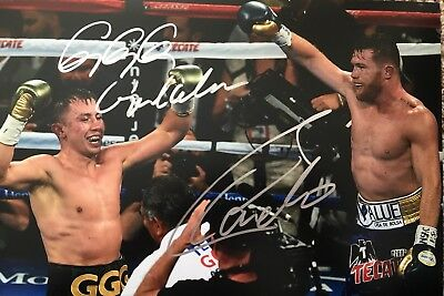 Original Hand Signed Boxing Picture By Canelo Alvarez & Gennady GGG Golovkin
