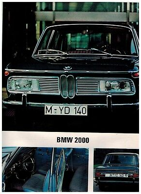 BMW 2000 CATALOGUE RECTO-VERSO 1968 format 24 X 31 FRANCE