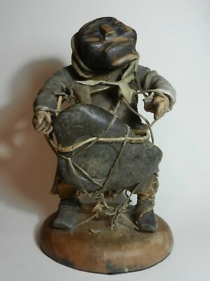 Large Early/Mid 20th C Inuit Wooden Carved Eskimo Figure with Dried Hide Clothes