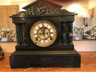 Lovely Black marble victorian clock-great condition
