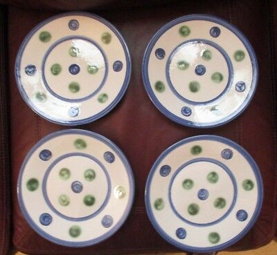 """4 New M.a. Hadley Pottery Polka Dotted Blue & Green 9"""" Plates"""