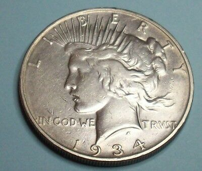 1934 D Large Filled D Key Xclnt Low Mint Peace Liberty Silver Dollar Lot Coin