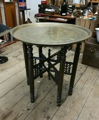 Vintage Antique middle eastern Islamic Moroccan brass table decorative folding