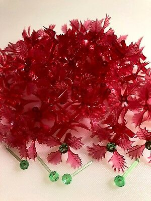 50 RED HOLLY POINSETTIA BULBS LIGHTS Ceramic Christmas Tree GREEN PIN CENTERS