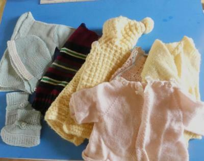 Vintage Hand Knitted Sweaters.. Baby / Toddler..lot Of 8..mittens..booties