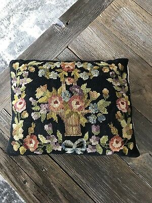 Antique Vintage Black Needlepoint Roses Pillow French Chic Shabby Fowers