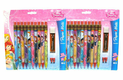 20 Paper Mate Disney Princess 1.3mm Mechanical Pencils HB #2 Extra Lead, Erasers