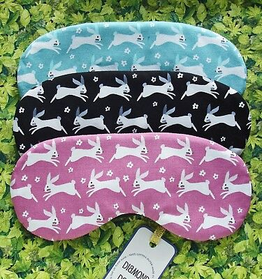 Eye Sleep Mask Cute Bunny Rabbit Soft Cotton Blackout Relax Travel UK Made Gift
